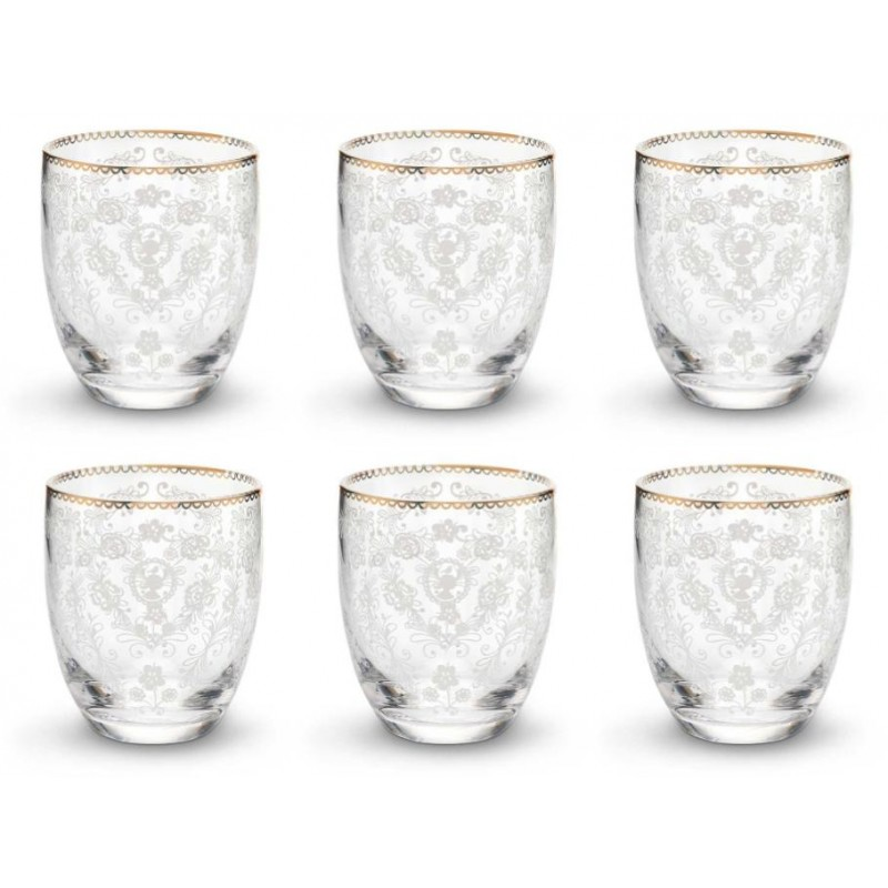 Wassergläser 6 x wasserglas pip studio je 280 ml muster floral